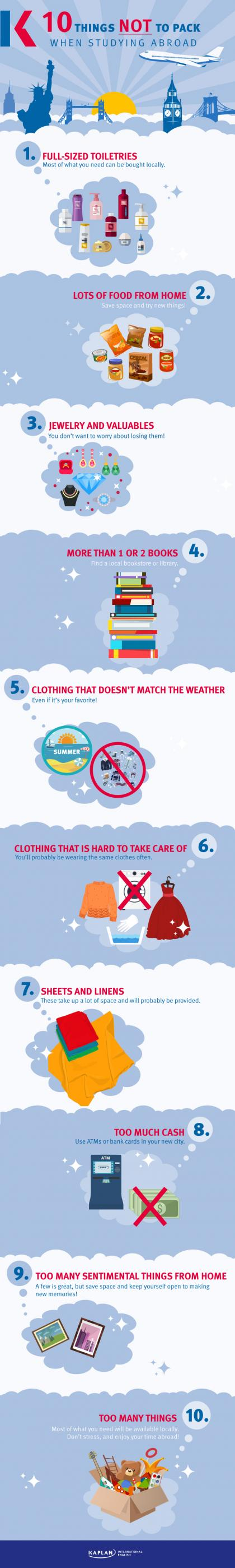 things not to pack infographic
