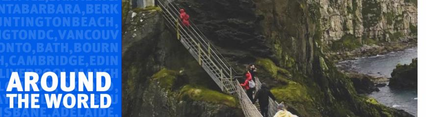 Students climing bridge at Giant's Causeway