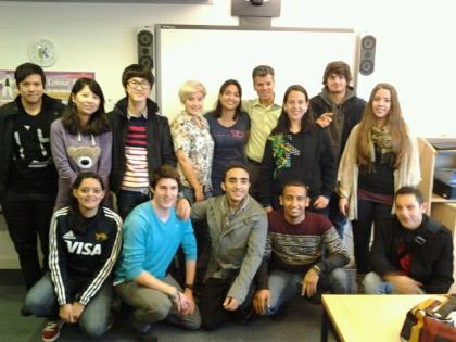 Maria and her classmates at the Manchester college