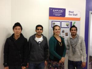 Sadie with her students Jin, Yasser & Essa who all contributed to this month's newspaper