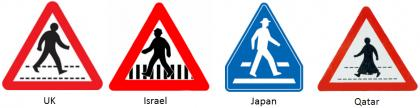 Road signs for pedestrian crossings