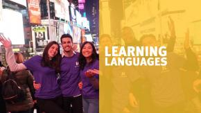 Kaplan students with friends in new york being bilingual