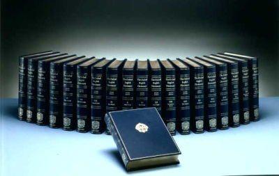 What the complete Oxford English Dictionary looks like. That's a lot of words! Courtesy of OUP.