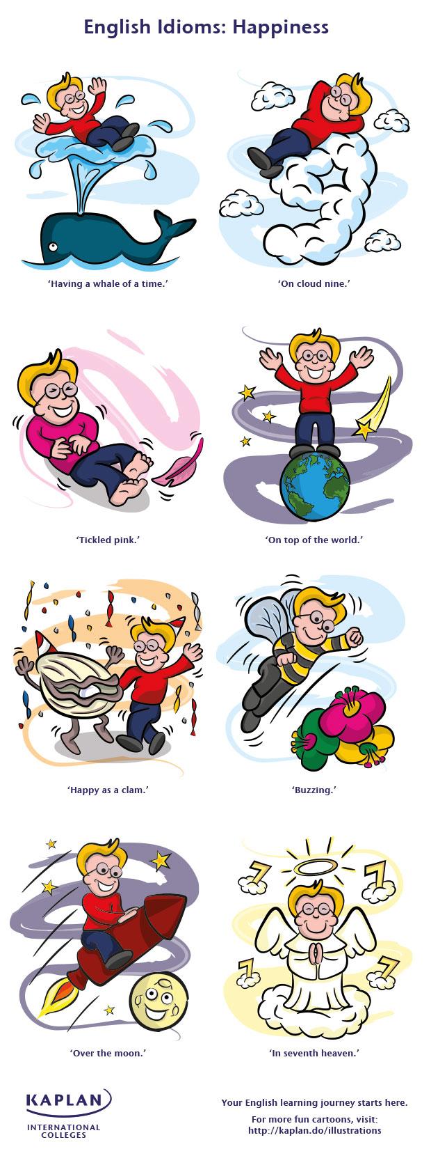 Иллюстрации английских идиом о счастье