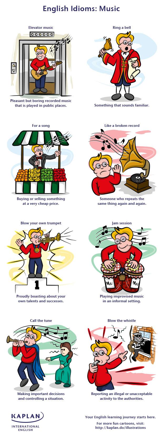 иллюстрация различный идиом в английском языке на тему музыки