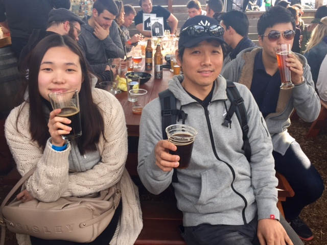 Our students enjoying a beer at a local microbrewery