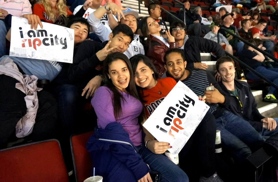 Our Portland students at a basketball game