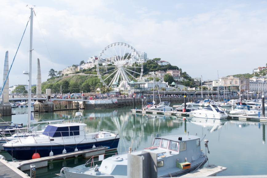 The beautiful harbor is a central feature of Torquay.