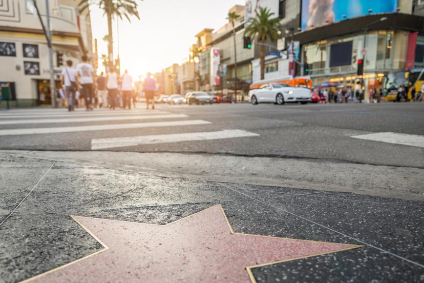 How many stars can you spot on the Hollywood Walk of Fame?