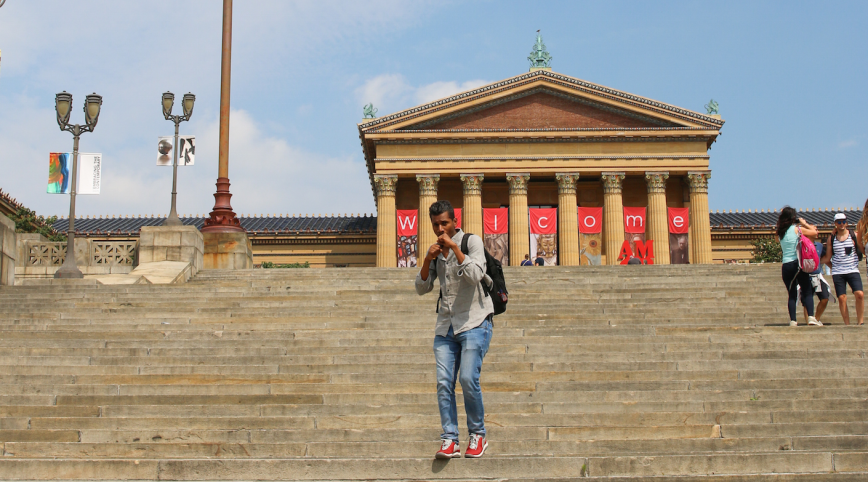 Running up the Rocky Steps