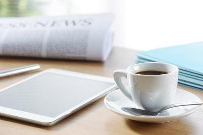newspaper, tablet, coffee