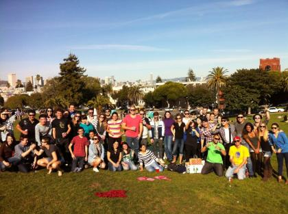 San Francisco students having a picnic in the sun