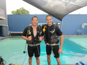 Asaf at the start of the English plus Diving course